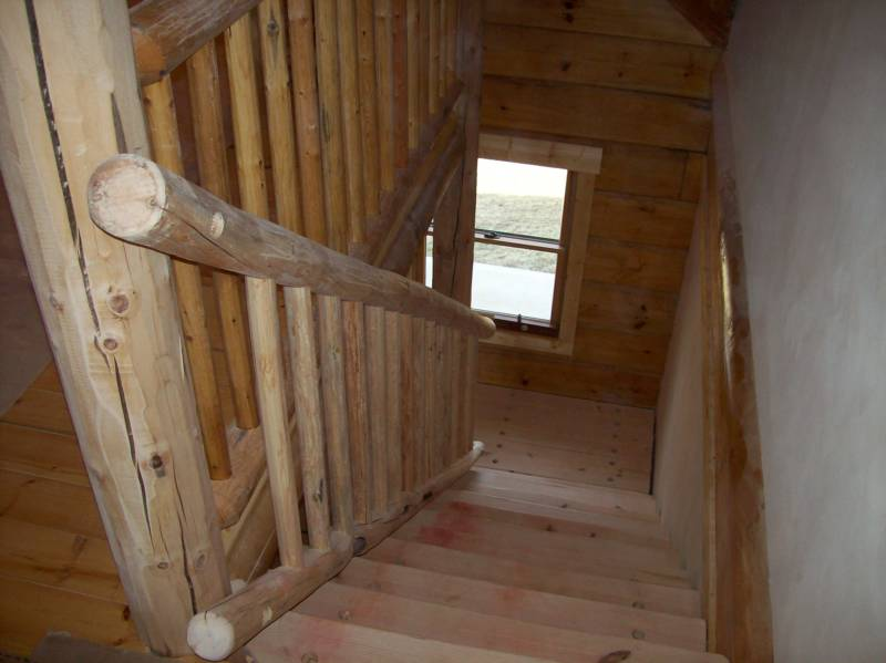 Log Stairs And Handrailing